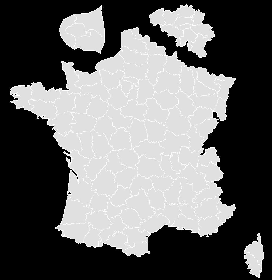 Carte de France et de Belgique présentant quelques unes des interventions de TEC, spécialiste en peinture électrostatique